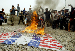 Iraq US flag burnt