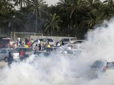 tear gas bahraini protester