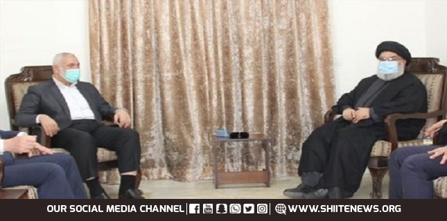 Sayyed Nasrallah and Haniyeh discussed military developments in Palestine