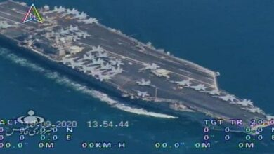IRGC drones capture strikingly precise footage of US aircraft carrier