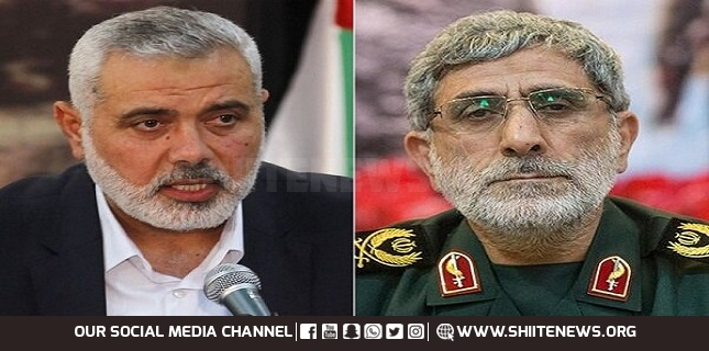 General Esmail Qhaani, Hamas chief discuss latest development