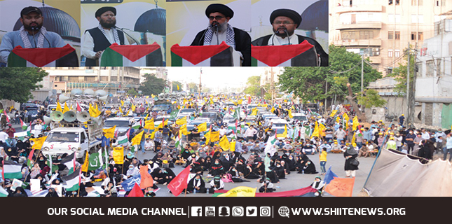 TAQ Pakistan staged Central Al-Quds Rally from Numaish to Tibet Center in Karachi