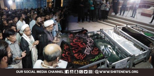 Funerals of Martyrs of Nooriabad Bus Accident held in Karachi