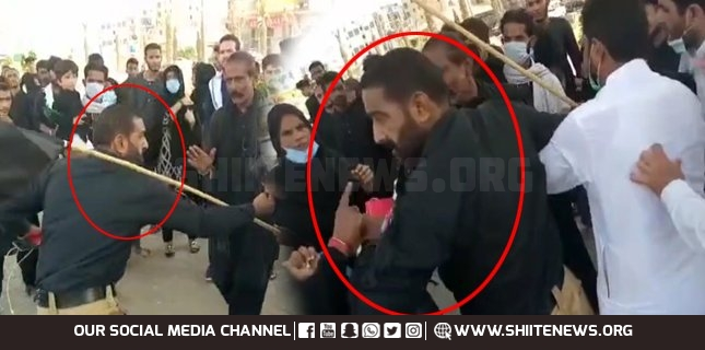 Police misbehave with women mourners during Arbaeen in Karachi